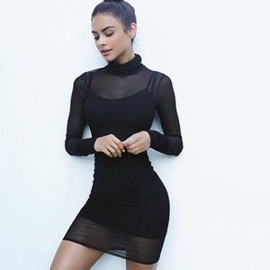 Sheer Dress Mesh Stretch Black long sleeve- sz S